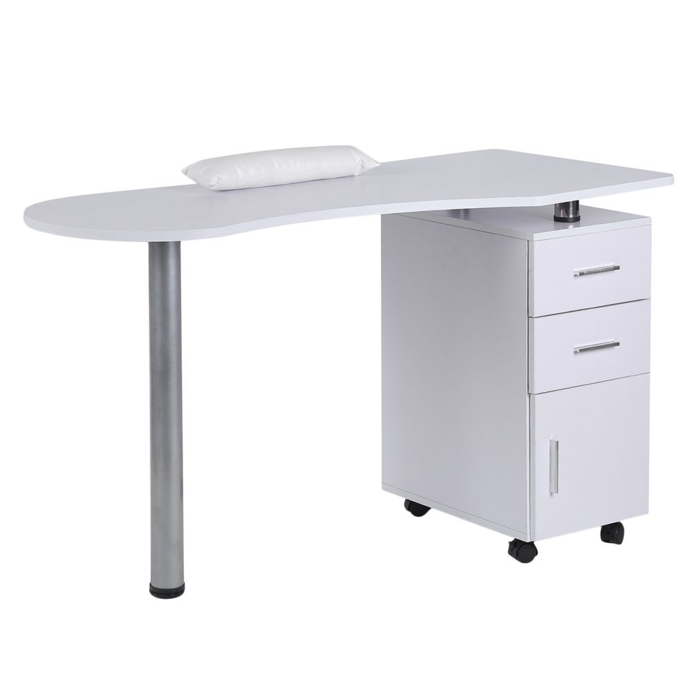 Homgrace Purple Beauty Manicure Nail Table Station Practical Movable Desk Nail Salon Equipment With Wrist Rest Pad 3 Drawers by Homgrace (Image #1)