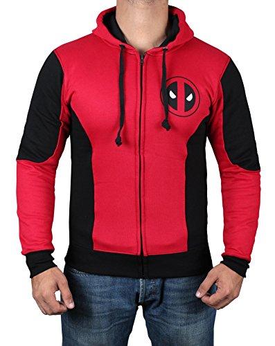 Sweatshirt Jumper (Miracle(Tm) Deadpool Mask Logo Hoodie - Mens Adult Red Zipper Sweatshirt (M))