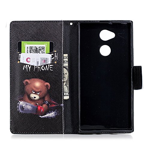 Funda Sony Xperia XA2 Ultra,ZHXMALL Sony Xperia XA2 Ultra Carcasa Libro De Cuero Impresión PU Premium Patrón Con TPU Silicona Case Interna Suave,Soporte Plegable,Ranuras Para Tarjetas Y Billetera,Cier Oso de motosierra
