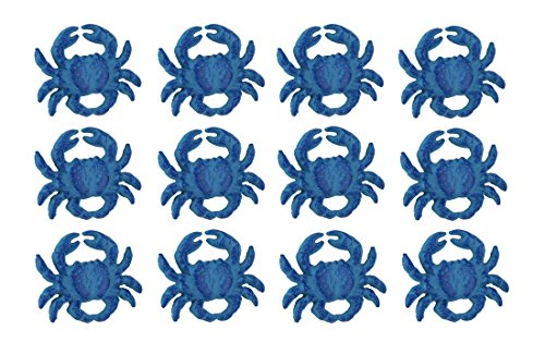 Set of 12 Distressed Finish Coastal Blue Cast Iron Crab Drawer Pulls ()
