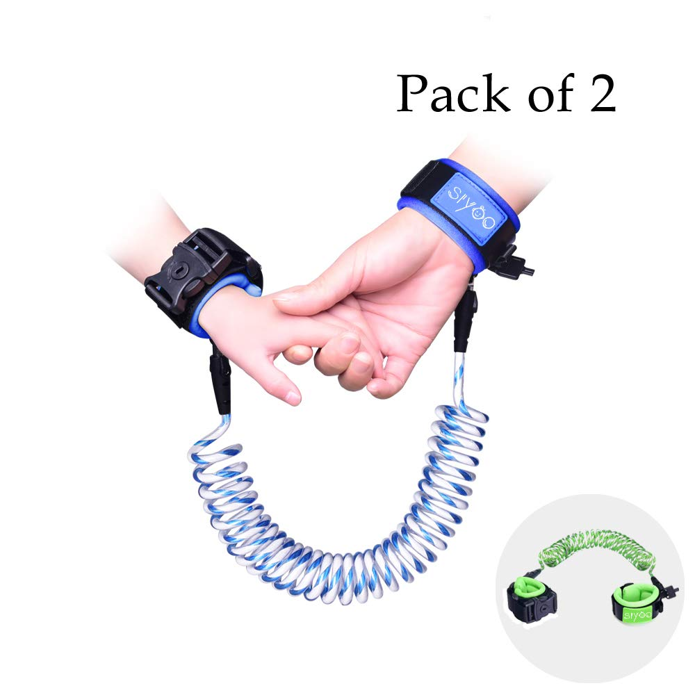 Reflective Anti Lost Wrist Link with Child Lock, Siyoo Toddler Child Harness Leash for Outdoor Activities, Shopping, Pack of 2 (4.92ft Green & 8.2ft Blue) by Siyoo (Image #1)
