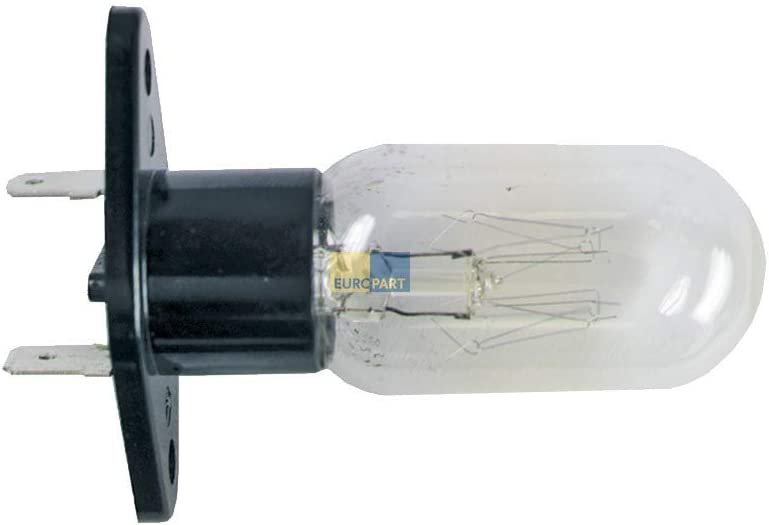 DL-pro - Lámpara para Bauknecht Whirlpool 25 W 240 V como 481913428051 con base de fijación 2 x 6,3 mm para microondas