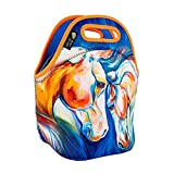 ART OF LUNCH Isulated Neoprene Lunch Bag for Women, Men and Kids, Reusable Soft Lunch Tote for Work and School - Design by Marcia Baldwin (USA) - Heart Twins Equine