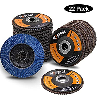 """Mestool 22 Pack Flap Disc, 4.5"""" x 7/8"""", Type 29 Zirconia Abrasive Grinding Wheel and Flap Sanding Disc, Includes 40/60/80/120 Grits"""