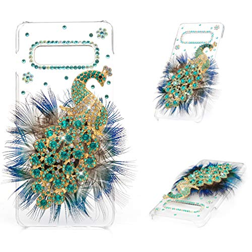 Galaxy S10 Plus Case, Mavis's Diary 3D Handmade Bling Crystal Luxury Peacock with Green Blue Feather and Shiny Glitter Sparkly Diamond Rhinestone Clear Hard Back Case Cover for Samsung Galaxy S10 Plus