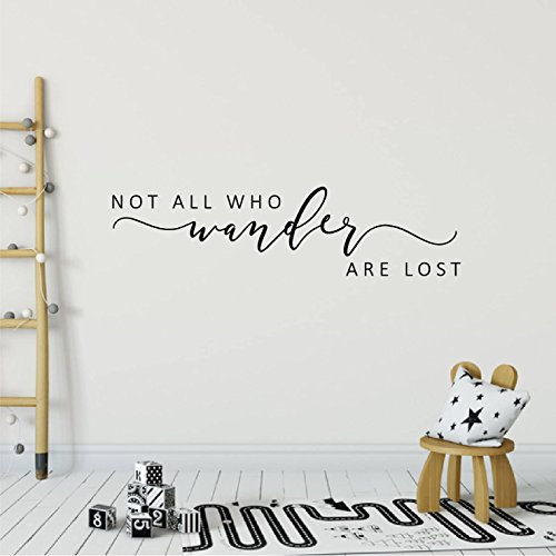 Beverly465 Not All Who Wander Are Lost Wall Sticker Decal Modern Farmhouse Style For Front Bedroom Wall Decals Kids Vinyl Decal Length 43.3""