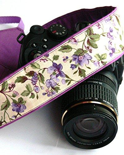 Flowers Camera Strap. DSLR Camera Strap. Purple Lilac Camera Strap. Canon Camera Strap. Gift for Her. Camera Accessories; 281
