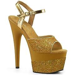 """7"""" Heel, 2 3/4"""" Platform Ankle Strap Sandal with Glitter Wrapped Platform"""