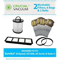 Replacement for Eureka Bags, Belts & Pre & Post-Motor Filters Fit AirSpeed Vacuums, Compatible With Part # 67821, 68931 & 830911, by Think Crucial