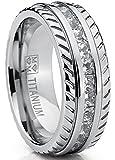Men's Titanium Wedding Band, Engagement Eternity ring, Chevron design W/ Princess Cut Cubic Zirconia CZ