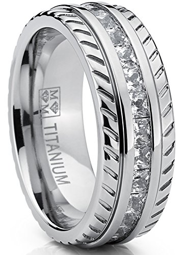 Titanium Cubic Zirconia Band - Metal Masters Co. Men's Titanium Wedding Band, Engagement Eternity ring, Chevron design W/Princess Cut Cubic Zirconia CZ 11