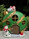 ShopForAllYou Figurines and Statues Miniature Fairy Garden ~ Large Green Christmas Ornament House with LED Light