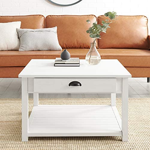 Reviewed: Walker Edison Modern Country Square Coffee Table Living Room Accent Ottoman Storage Shelf 30 Inch