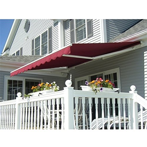 ALEKO AW12X10BURG37 12 X 10 Feet Retractable Home Patio Canopy Awning, Burgundy Color