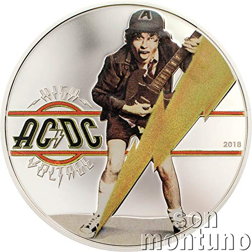 2018 CK AC/DC HIGH VOLTAGE COIN - Official 1/2 Oz Silver Proof Coin in Box with Certificate of Authenticity - 2018 COOK ISLANDS $2 $2 Proof (Ounce Coin 0.5 Silver)