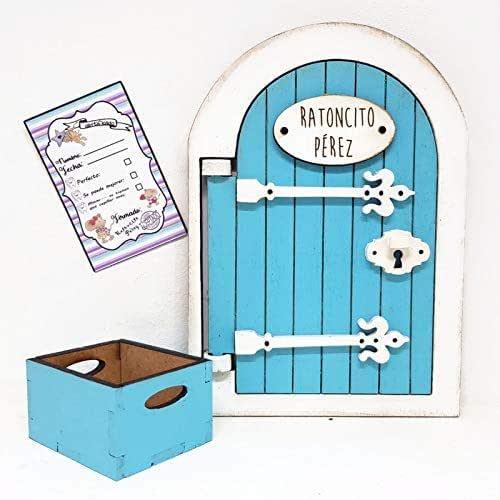 Puerta Mágica ratoncito Pérez de madera color azul,incluye cajita ...