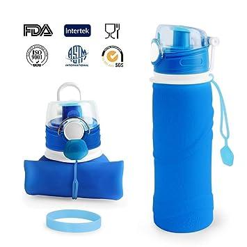 Botella de agua de silicona para hacer deporte de 750 ml y libre de BPA con