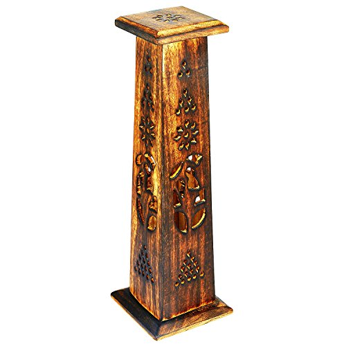 Wooden Incense Stick & Cone Burner Holder Tower Large Organic Eco Friendly Ash Catcher Agarbatti Holder Rustic Style Hand Carved For Meditation Yoga Aromatherapy Home Fragrance (Carved Incense Burner)