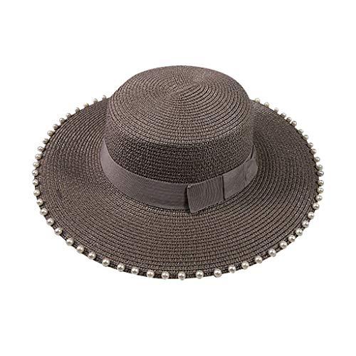 zitan Womens Beach Sun Straw Hat UV UPF53 Travel Foldable Roll up Brim Summer UV Hat Summer Stripe Sun Beach Straw Hat
