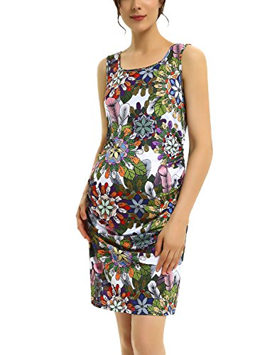 Short Maternity Tank Dress Floral Casual Bodycon Sleeveless Ruched Midi Pregnant Dress