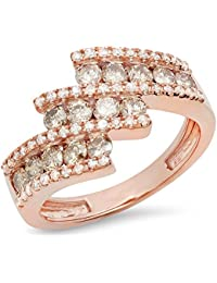 1.25 Carat (Ctw) 10K Gold Round Champagne & White Diamond Ladies Bypass Fashion Right Hand Ring