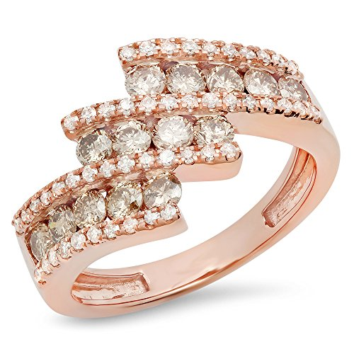 Dazzlingrock Collection 1.25 Carat (Ctw) 10K Champagne & White Diamond Ladies Fashion Right Hand Ring, Rose Gold, Size ()