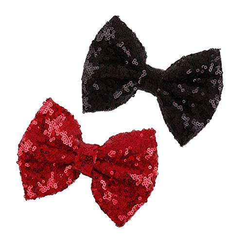 DDazzling Girls Large Gold Sliver Glitter Bow Hair Clip Hair Accessories 2PC (Red and Black) ()