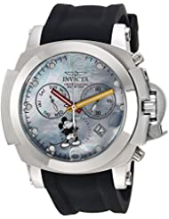 Invicta Mens Disney Limited Edition Quartz Stainless Steel and Silicone Casual Watch, Color:Black (Model: 24685)