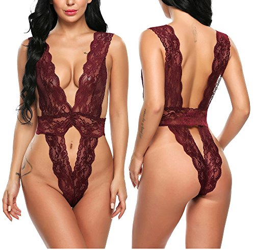 Avidlove Women Sexy Lingeries One Piece Babydoll Deep V Neck Lace Outfits Wine Red Small