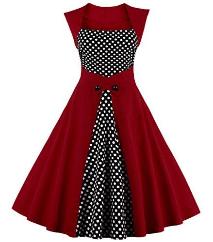 Aecibzo Partito Vestito Puntino Oscillazione Vino Delle Polka Rosso Donne Dimensioni Cocktail Più Stile Di Retro epoca rxqrSUg