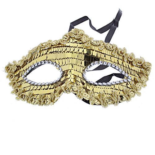 Zac's Alter Ego® Shattered Mirror Effect Masquerade Mask with Sequin Outline -