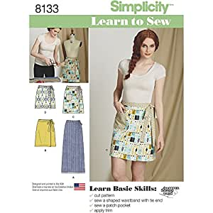 Simplicity Creative Patterns Simplicity Pattern 8133 Misses' Learn To Sew Wrap Skirts, Size: A (6-8-10-12-14-16-18)