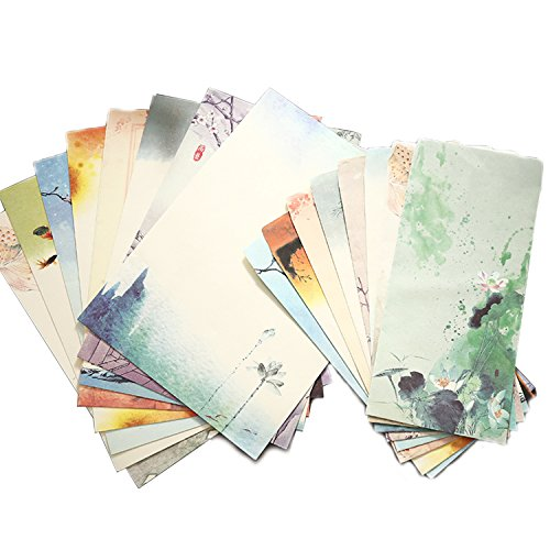 SCStyle 16 Cute Retro Envelopes 8.46 x 4.33 Inches 32 Lovely Kawaii Special Design Chinese Style Stationery Writing Letter Paper 10.2 x 7.3 Inches,Stationary Paper and Envelopes - Set Writing Letter