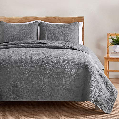 VEEYOO Bedspread Quilt Set – Soft Microfiber Lightweight Coverlet Quilt Set for All Seasons, Bedspreads King/Cal King Size (1 Quilt, 2 Pillow Shams), Grey