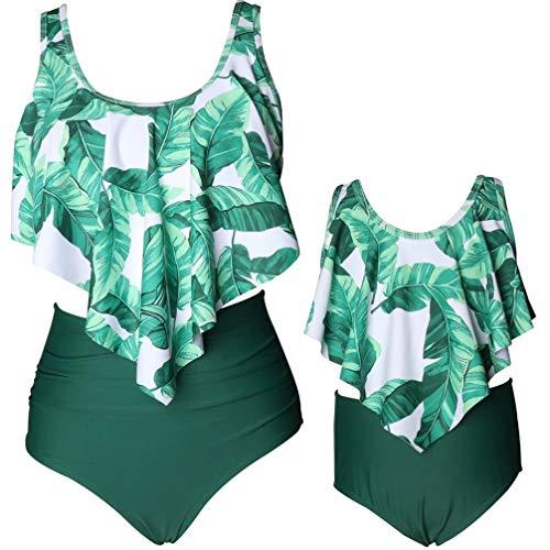 pjsonesie Girls Swimsuit Two Pieces Bikini Set Ruffle Falbala Swimwear Bathing Suits (Green Ruffled, Mom - Cute Fat