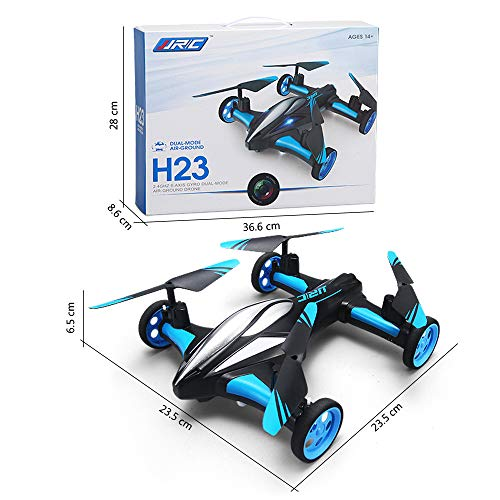 JJRC H23 Drone Flying Cars Quadcopter Air-Ground Dual Mode Remote Control Car with 360°Rolling, Speed Switch, LED Lights, Headless Mode, One Key Return, Low-Voltage Alarm Function (Blue)