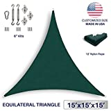 Windscreen4less 15' x 15' x 15' Equilateral Triangle Sun Shade Sail with 6 inch Hardware Kit - Green Durable UV Shelter Canopy for Patio Outdoor Backyard - Custom Size