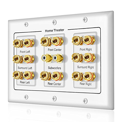 5 6 7.1/7.2 or 8.1/8.2 One or Two Subwoofer Compatible 16 Banana Post and 2 RCA Speaker Wall Plate for Home Theater Audio (Speaker Wall Plate 3 Gang)
