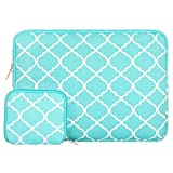 MOSISO Laptop Sleeve Bag Compatible 15-15.6 Inch MacBook Pro, Notebook Computer with Small Case, Quatrefoil Style Canvas Fabric Protective Carrying Cover, Hot Blue