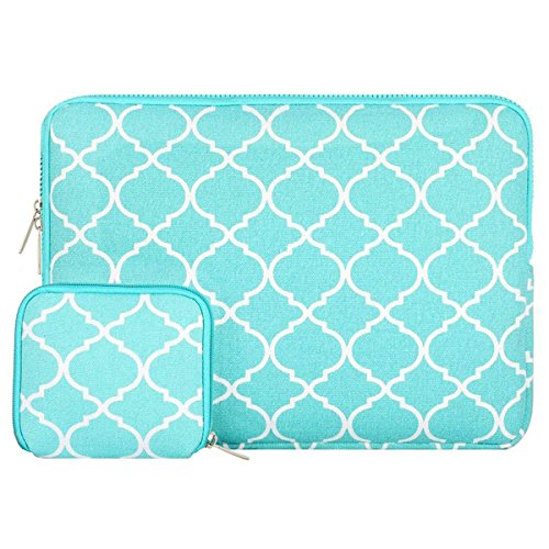 MOSISO Laptop Sleeve Bag Compatible 13-13.3 Inch MacBook Pro, MacBook Air, Notebook with Small Case, Quatrefoil Style Canvas Fabric Protective Carrying Cover, Hot Blue