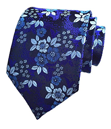 Navy Blue Floral Pattern (L04BABY New Classic Floral Navy Blue White Flower Jacquard Woven Silk Men's Tie)
