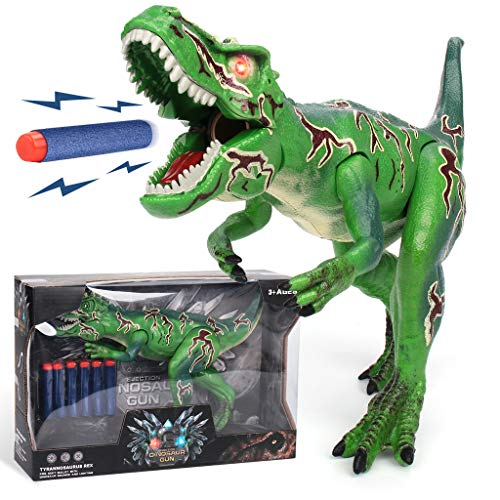 (Foam Dart Gun Dinosaur Toy Dragon Realistic Electronic LED Light Up Tyrannosaurus Rex Model Toys with Shooting Roaring for Kids Boys Girls Birthday Gifts)