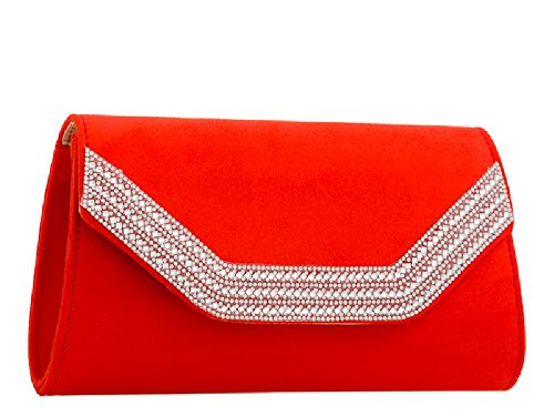 Bag KZ2275 Black Clutch Envelope Ladies Summer Women's Suede Evening Handbag Party Diamante Purse PwH7Otqf7