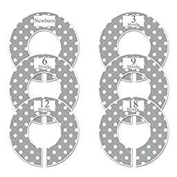 Closet Doodles C21 Gray Polka Dots Baby Closet Dividers Set of 6 Fits 1.25inch Rod
