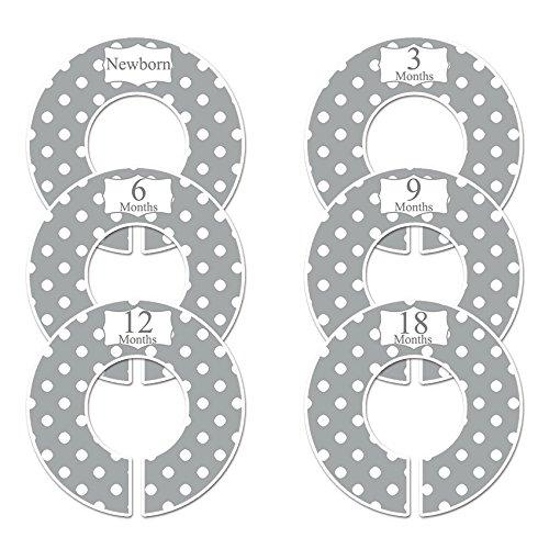 Closet Doodles C21 Gray Polka Dots Baby Clothing Dividers Set of 6 Fits 1.25inch Rod Digitaldoodlebug