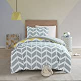 SCM Nadia Single Size Bedding Set, Fashion Chevron Printed Duvet Cover and 2 x Pillowcase, Luxury Trendy Quilted Bedspread, Yellow/Grey