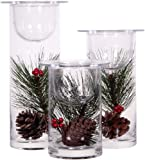Set of 3 Glass Hurricane Candle Holders Filled with Holiday Flowers, Decorative Sphere Ball Candle Holders, Christmas Floral Home Decor Centerpiece, Flowers Are Removable - White Candles Included