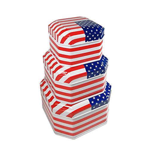 Luwint Vintage Small Tin Box Container American Flag Pattern Empty Storage Tins Box for Coins Candy Cookie Chocolate, Party Table Home Decoration, Set of 3 Chocolate Tin Box