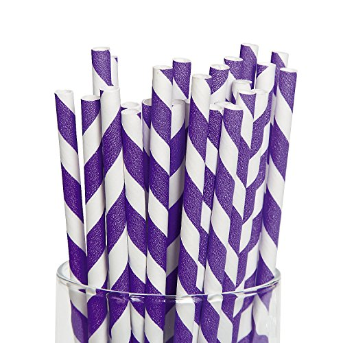 Purple Striped Paper Straws pcs