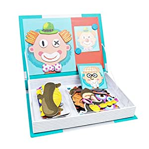 Baoblaze Magnetic Book, Character Face Toy Set (Crazy Face)